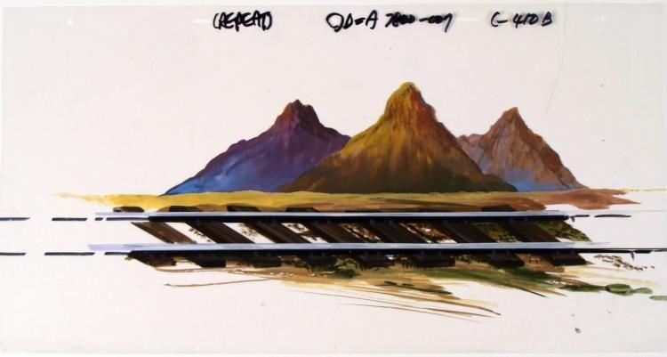 Original Animation Cel Train Tracks Painted Background
