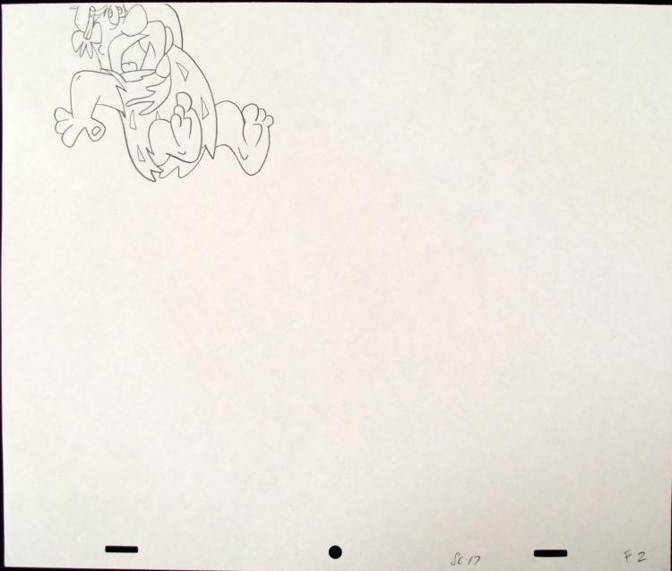 The Flinstones Original Animation Drawing Watch Out