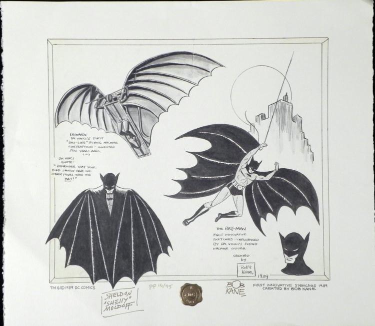Batman Print Signed Bob Kayne & Sheldon Moldoff Art