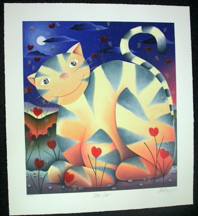 Mackenzie Thorpe 'Love Cat' Serigraph