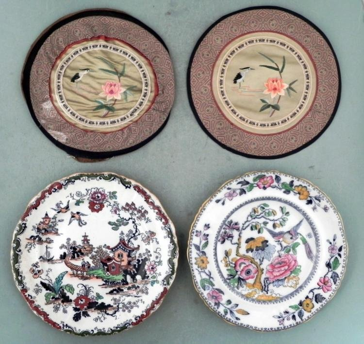 2 Ashworth Hanley China Plates w/Chinese Motif & Covers