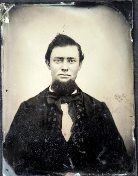Large Tintype Photograph Portrait Bearded Man 4 x 5