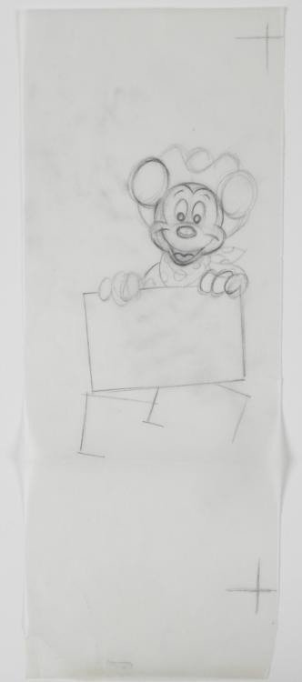 Original Disney Cowboy Mickey Animation Drawing