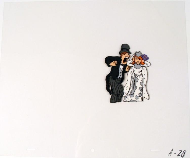 Blocking It Out Animation Cel Bride and Groom Original