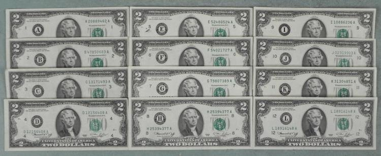 Complete Set of 12 Diff Mints A-L 1976 $2 Dollar Bills