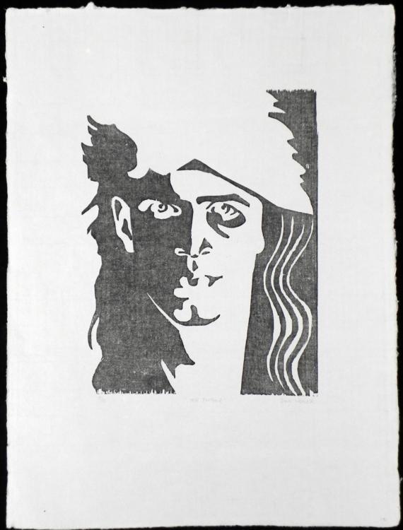 Self-Portrait Block Print Original S/N Don Weaver