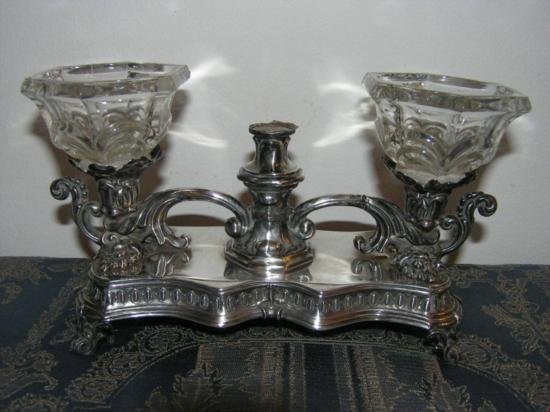 GT0611120038 ANTIQUE FRENCH SOLID SILVER INKWELL INK ST