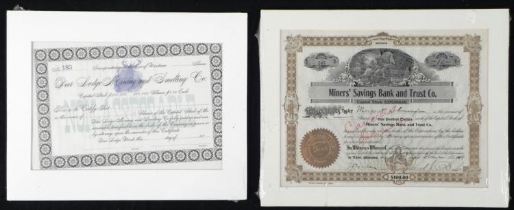 2 Antique Mining Stock Certificates 1800s Unissued 1904