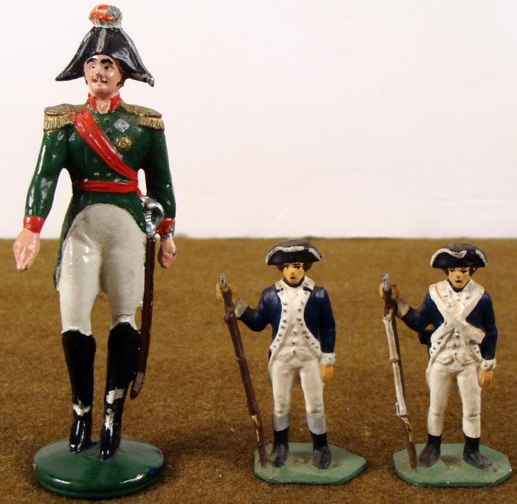 """3 REVOLUTIONARY WAR LEAD TOY SOLDIERS PAINTED 2-4"""""""