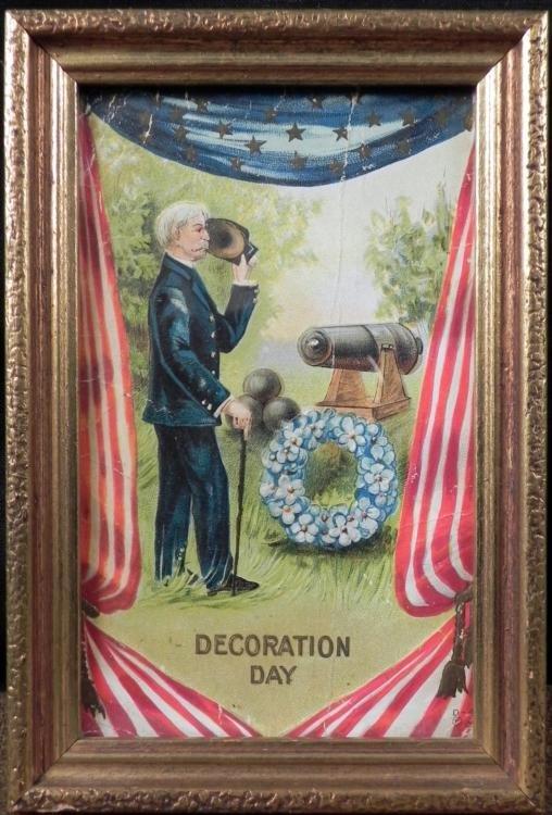 DECORATION DAY FRAMED PRINT CIVIL WAR SOLDIER MEMORIAL