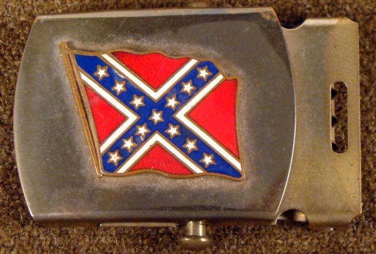 VINTAGE CIVIL WAR CONFEDERATE FLAG US BRASS BELT BUCKLE