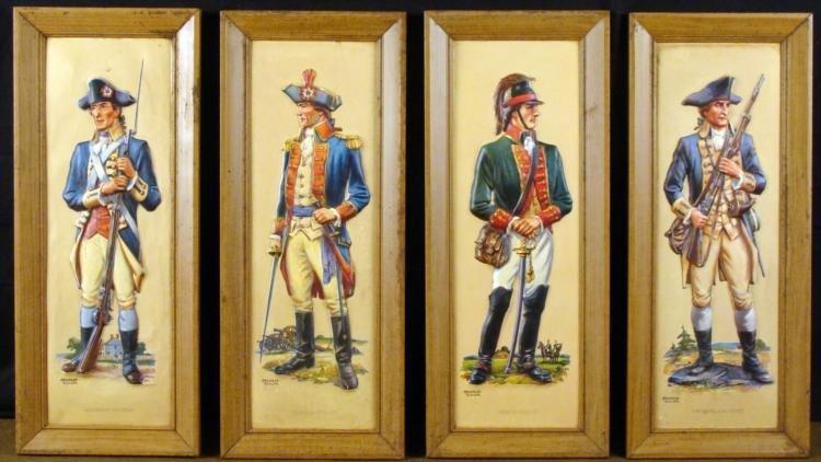 SET OF 4 FREDERICK ELMIGER REVOLUTIONARY WAR ART PIECES