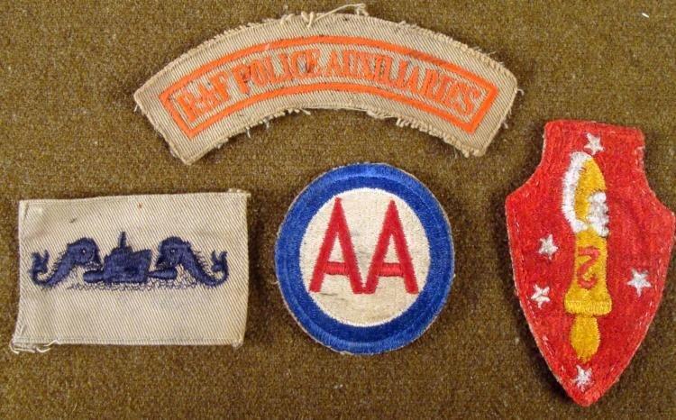 WWII ERA U.S. PATCHES-2ND MARINE DIV-ARMY AIRFORCE RAF