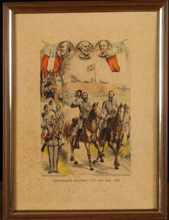 CONFEDERATE UNIFORMS-CIVIL WAR 1861-65 ANTIQUE PRINT