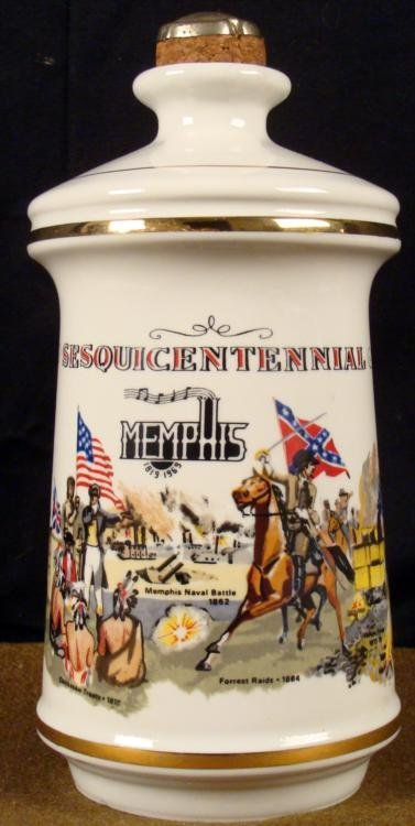 """9"""" PORCELAIN MEMPHIS SESQUICENTENNIAL 1819-1969 BOTTLE"""
