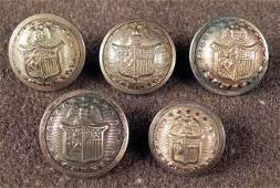 5 New York Antique Gilt State Seal Coat Buttons