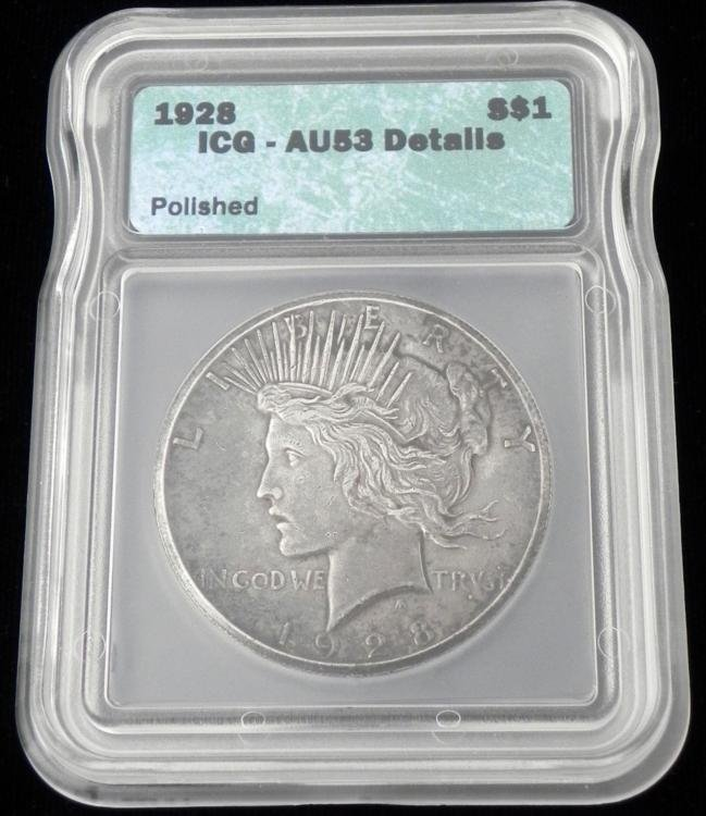 1928 Peace Silver Dollar Graded AU 53 Details Coin