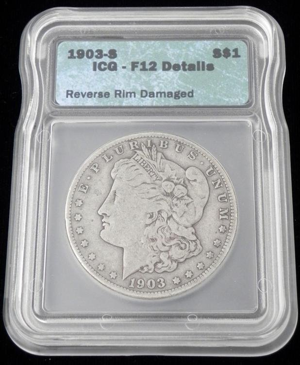 1903-S Morgan Silver Dollar Graded F12 Details Coin