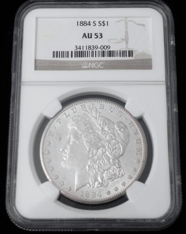 1884 NGC AU 53 Morgan Silver One Dollar Coin