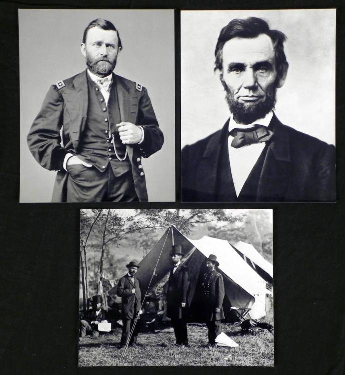 3 Photos Civil War Abraham Lincoln, Ulysses S. Grant