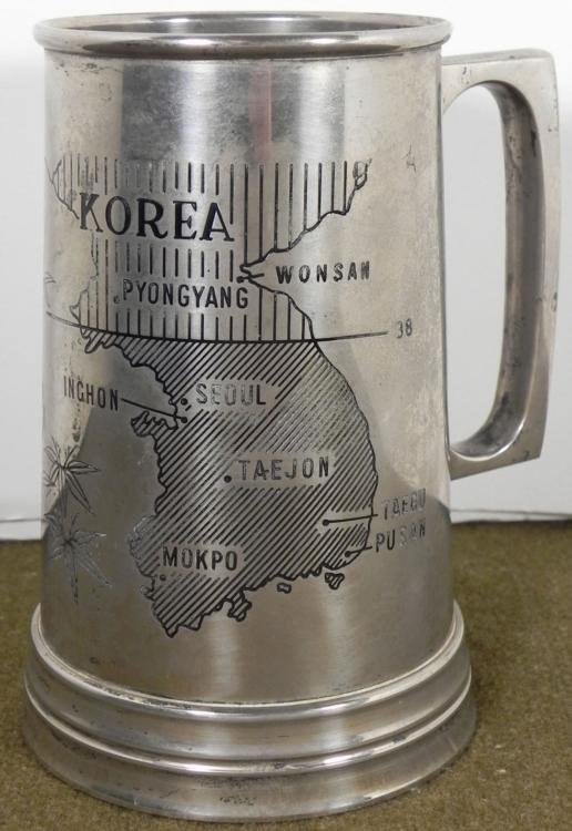 ETCHED KOREAN WAR STEEL MUG WITH TIGER AND MAP OF KOREA