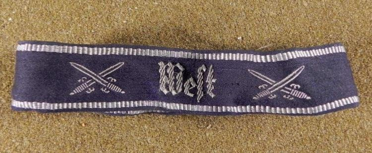 ORIGINAL NAZI WEST EMBROIDED CUFF TITLE