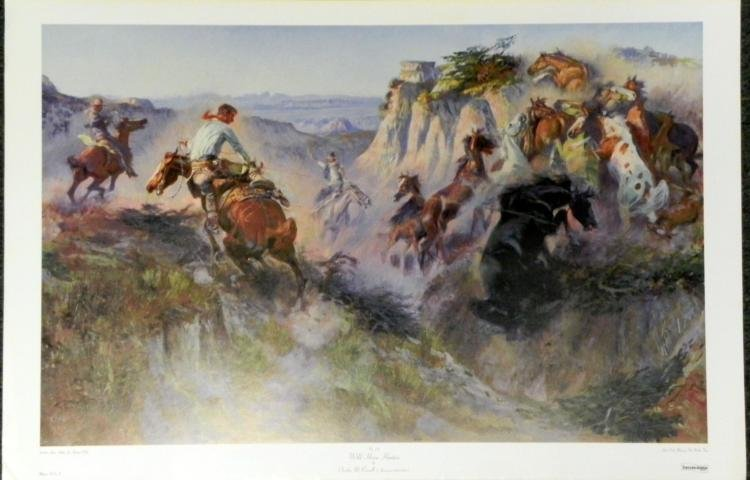 Charles M. Russell Wild Horse Hunters Cowboy Art Print