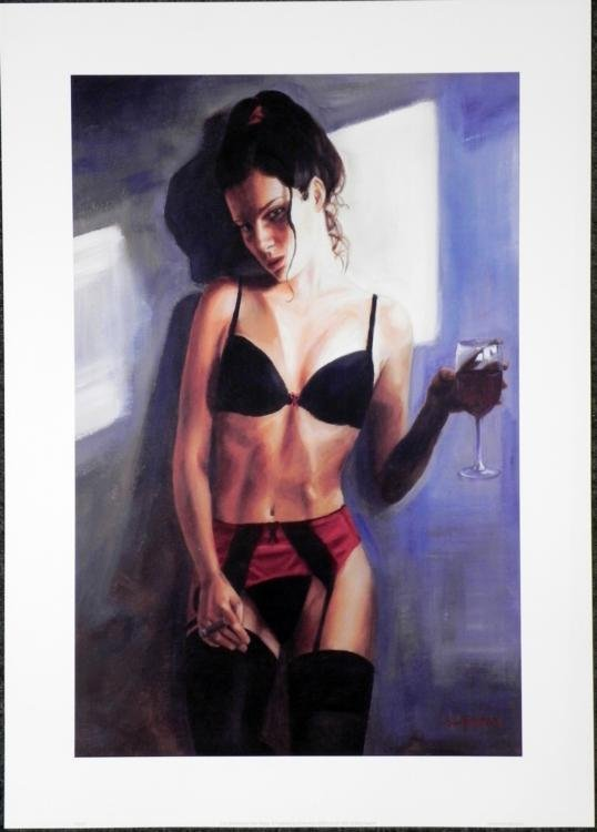 Carl Boumansour Red Ribbon III Erotic Lady Art Print