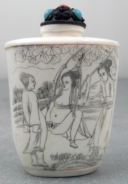 Anique Ivory Erotic Swing Chinese Snuff Bottle