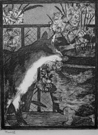 Manet Posthumous Etching Print Le Chat Cat