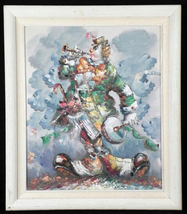 Morgan Original Painting Clown Musician -Framed