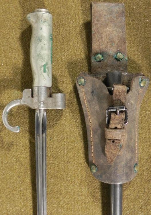 MODEL 1886 FRENCH EPEE CRUCIFORM BAYONET & RARE FROG