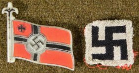 2) ORIGINAL NAZI ITEMS WAR FLAG IN PLASTIC AND PATCH