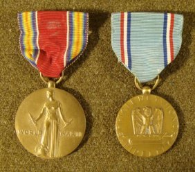 TWO WWII MEDALS- U.S. VICTORY AND GOOD CONDUCT