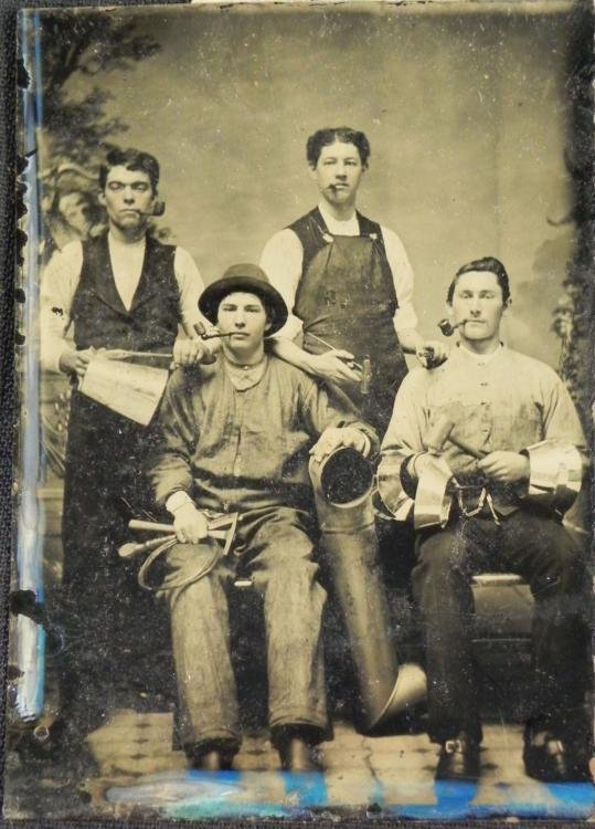 Antique Tintype Photograph 4 Builder Men w/ Pipes