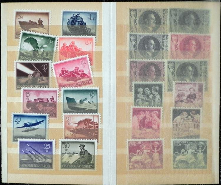 85 Diff German WWII Stamps Planes, Horses, Hitler