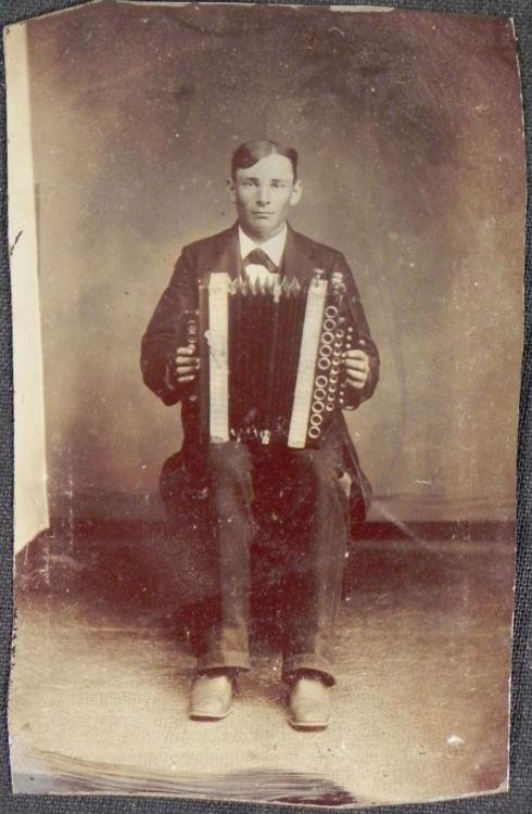 Antique Tintype Photograph Musician Man w/ Accordion