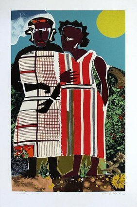 Romare Bearden : Two Women Signed Numbered Serigraph