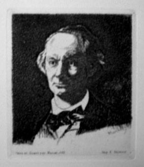 Manet Posthumous Etching Portrait of Beaudelaire