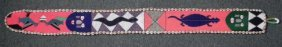 African Masks Hand Made Tapestry Beaded W/ Shells