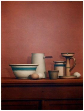 William Bailey Collotype Still Life Eggs, Candlestick