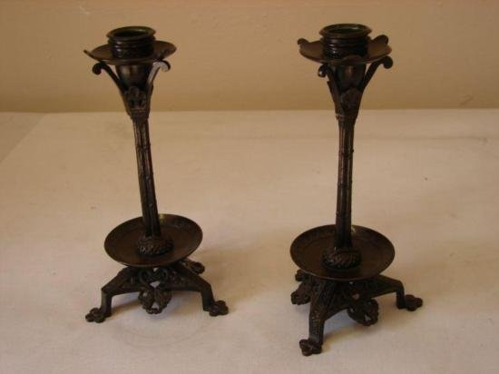 ET0503120146 Pair of Aesthetic Style Bronze Candlestick