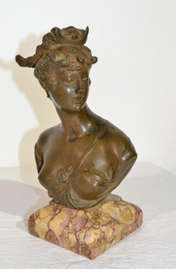 GT0424120237 FRENCH BRONZE BUST OF DIANA SIGNED A. CARR