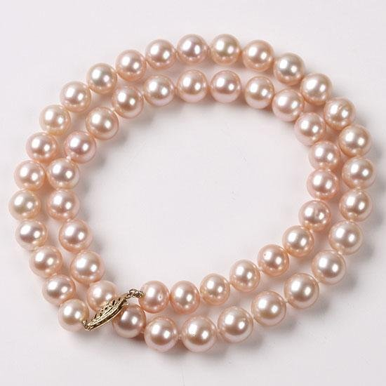 Lovely 14k Solid Yellow Gold 7.5-8mm Akoya Pearl Neckla