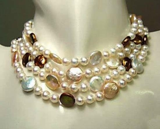 MWF992C Genuine coin pearl necklace
