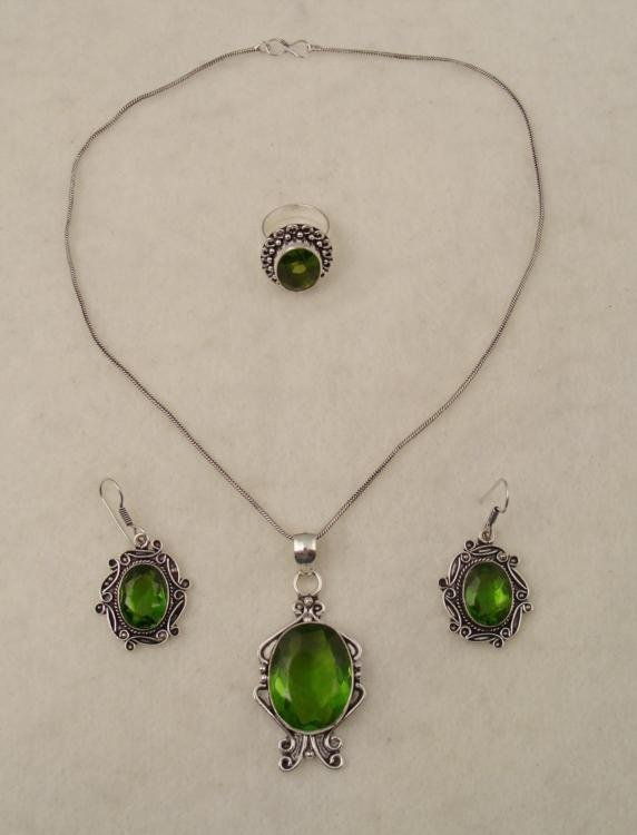 Peridot 3 Pc Sterling Ring, Necklace, Earrings Set