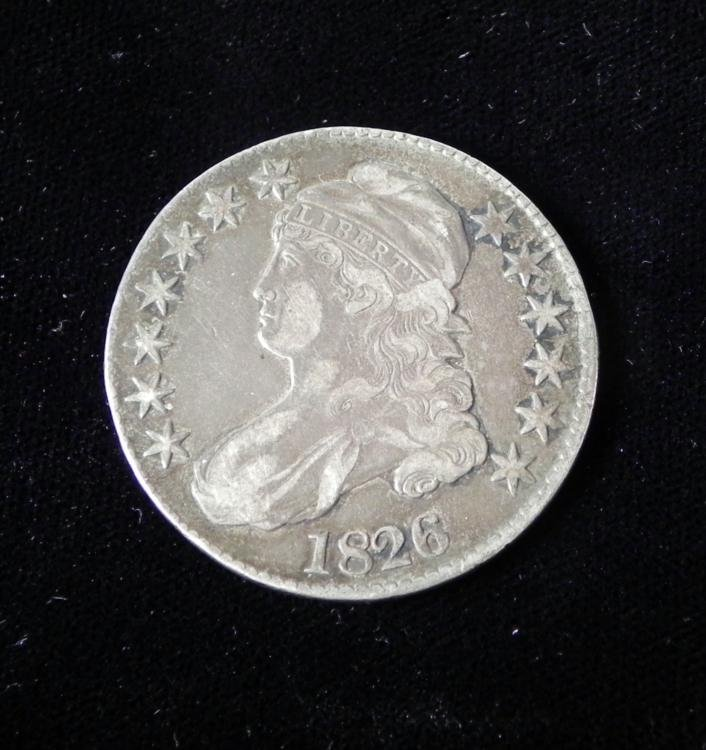 1826 High Grade Silver Capped Bust Half Dollar Coin