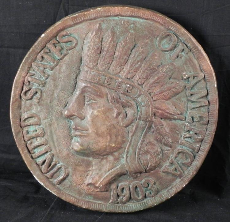 Giant Indian Head Cent Ceramic Penny 18 Inches -Jo Mead