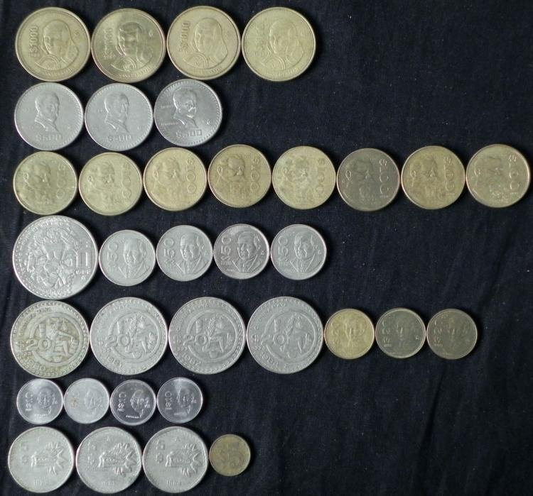 35 Mexican Coins $5, 10, 20, 50, 100, 500, 1000 1980-91