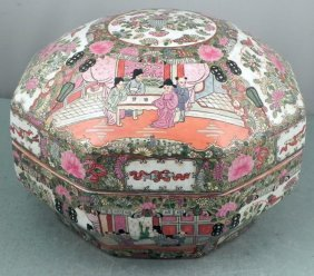 Large Old Chinese Porcelain Ornate Octagonal Box